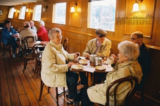 panelled dining room on paddle steamer